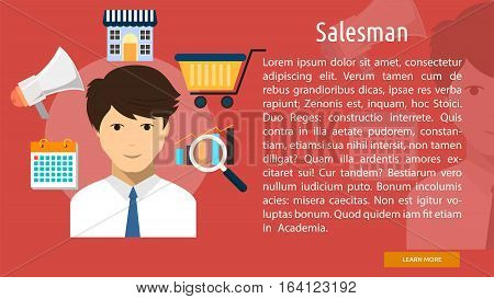 Salesman Conceptual Banner | Great flat illustration concept icon and use for human, profession, athlete, work, event and much more.