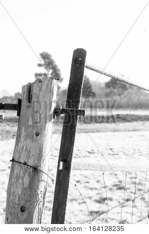 Weathered Wooden Post With Barbed Wire And Rusting Iron Gate