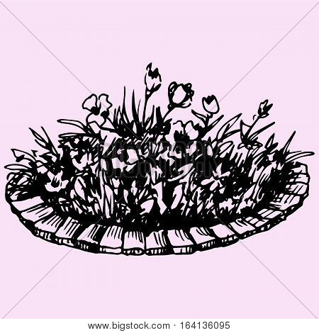 flowers in flowerbed doodle style sketch illustration hand drawn vector