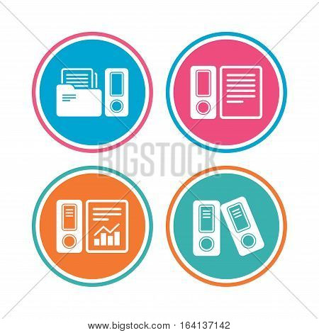 Accounting report icons. Document storage in folders sign symbols. Colored circle buttons. Vector