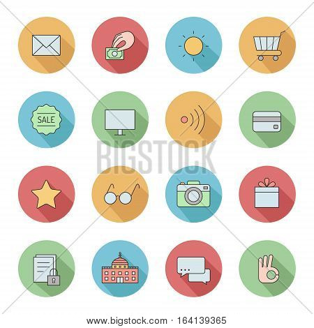 Outline business circle icons vector set. Clean and simple design. Part four.