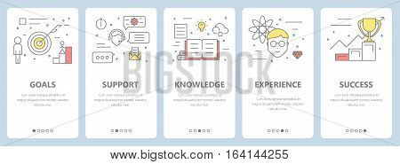 Vector set of vertical banners with goals, support, knowledge, experience, success concept elements. Thin line flat design symbols and icons for website menu, printing.