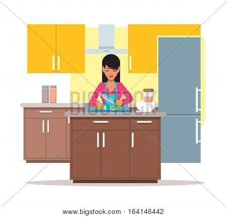 Vector illustration of young woman cooking salad, slicing cucumber. Kitchenware and furniture. Kitchen interior and cartoon character in flat design.