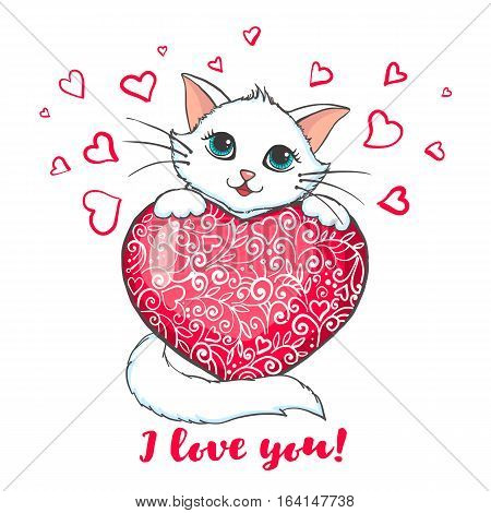 Cute Cat holding heart. Love concept. Greeting card with kitten. Design element for Wedding, Birthday or Valentines Day. Vector illustration