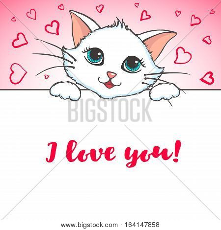 Cute Cat holding banner. Love concept. Greeting card with kitten. Design element for Wedding, Birthday or Valentines Day. Vector illustration