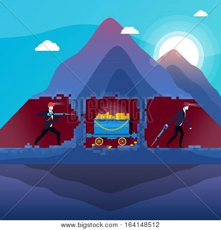 Vector illustration of mine, businessmen miners with drills and coal trolley full of gold bullions. Business success concept design element in flat style.