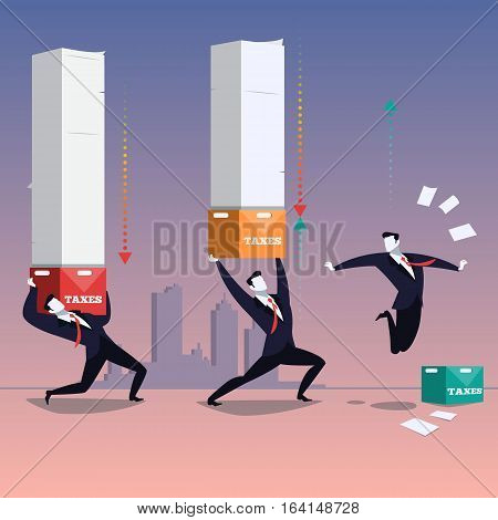 Vector illustration of two businessmen carrying tax boxes and one happy man is free of them. Business and taxation concept design element in flat style.