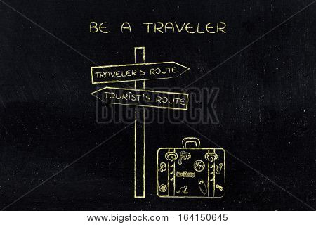 Traveler Or Tourist's Route: Crosspath With Road Sign And Bag