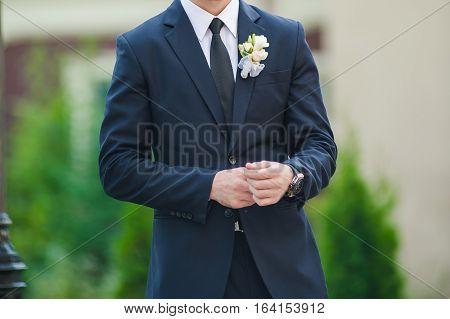 Big wedding day. Groom preparation. Groom style