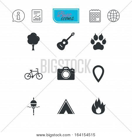 Tourism, camping icons. Fishing, fire and bike signs. Guitar music, photo camera and paw with clutches. Report document, calendar and information web icons. Vector