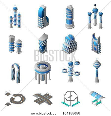 Future city isometric icons set of conceptual building of futuristic construction and architecture isolated vector illustration