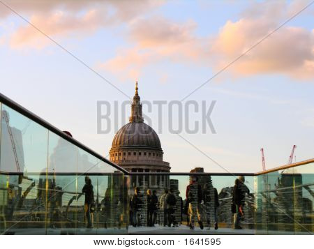 Saint Paul'S Cathedral And Millenium Bridge, London