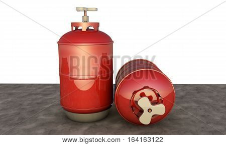 red propane cylinder with compressed gas 3d render