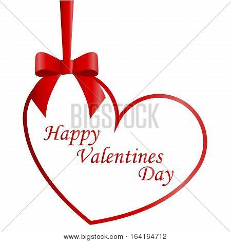 greeting card with red bow and ribbon and dangling heart on a white background. happy Valentine's day. vector illustration