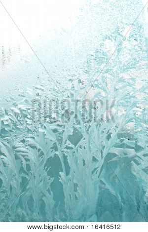 Frosty natural pattern on winter glass
