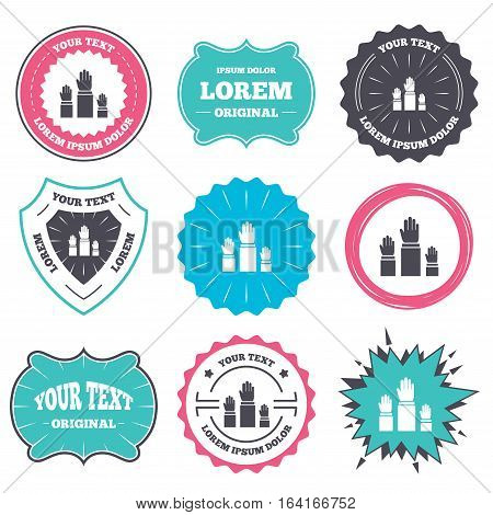 Label and badge templates. Election or voting sign icon. Hands raised up symbol. People referendum. Retro style banners, emblems. Vector