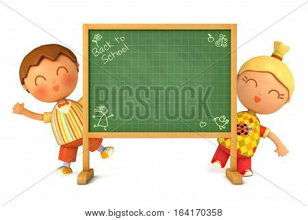 Cute girl and boy standing at school board. Blackboard ready for your message. Back to School. Isolated on white background. 3D illustration.