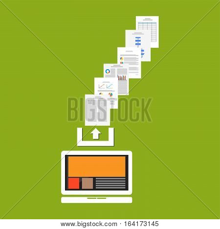 Upload documents or files to the internet. Upload process concept.