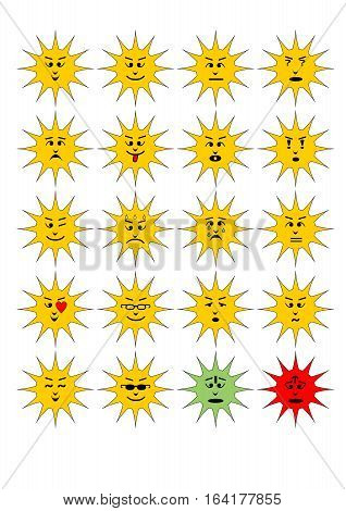 Set of sun shape emoticons collection of isolated vector emoji.