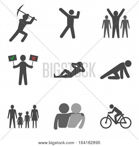 Set Of People Stick Man Icons Trendy Flat Style Isolated On White Background.