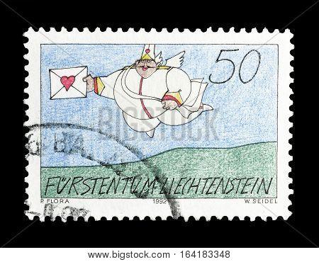 LIECHTENSTEIN - CIRCA 1992 : Cancelled postage stamp printed by Liechtenstein, that shows Love messenger.