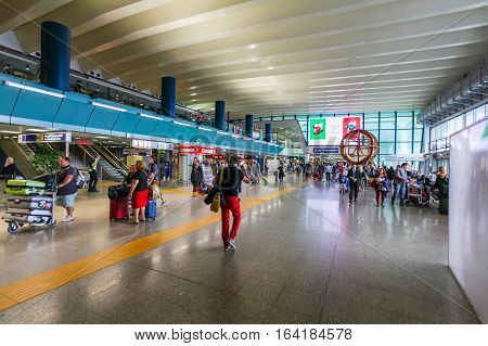 ROME, ITALY - September  15, 2016:  Passengers in Fiumicino Airport.  Fiumicino - Leonardo da Vinci International Airport is a major international airport in Rome, Italyis a major international airport in Rome Italy