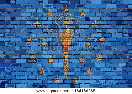 Flag of Indiana on a brick wall with effect - 3D Illustration,  The flag of the state of Indiana on brick textured background,  Indiana Flag in brick style