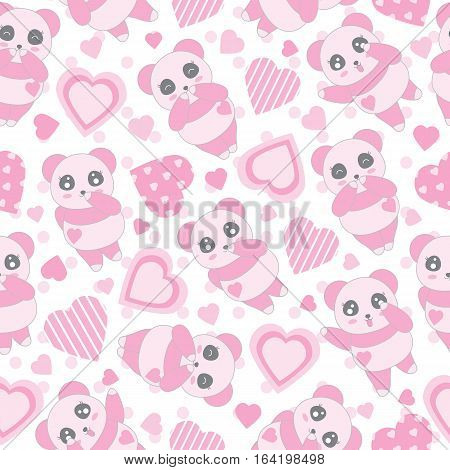 Seamless background of Valentine's day illustration with cute baby pink panda and love shape on polka dot background suitable for Valentine's day scrap paper, wallpaper and wrapping paper
