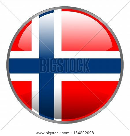 Round glossy isolated vector glow icon with national flag of Norway on white background.