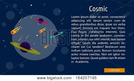 Cosmic Conceptual Banner | Great flat illustration concept icon and use for space, universe, galaxy, astrology, planet and much more.