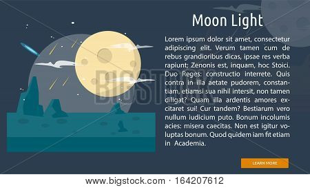 Moon Light Conceptual Banner | Great flat illustration concept icon and use for space, universe, galaxy, astrology, planet and much more.