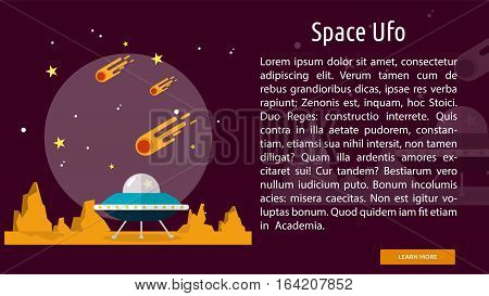 Space Ufo Conceptual Banner | Great flat illustration concept icon and use for space, universe, galaxy, astrology, planet and much more.