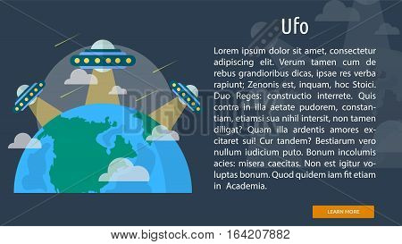 Ufo Conceptual Banner | Great flat illustration concept icon and use for space, universe, galaxy, astrology, planet and much more.