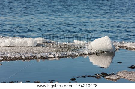 melting ice floes floating in spring water