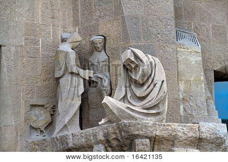 Detail Facade Sagrada Familia Barcelona Spain