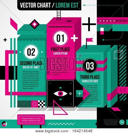 Pedestal Chart Layout In Weird Geometric Style With Abstract Shapes And Flashy Colors. Eps10 Vector
