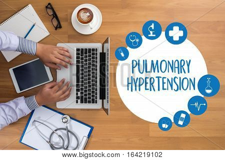 Pulmonary Hypertension Medicine Doctor Hand Working Professional Doctor Use Computer And Medical Equ