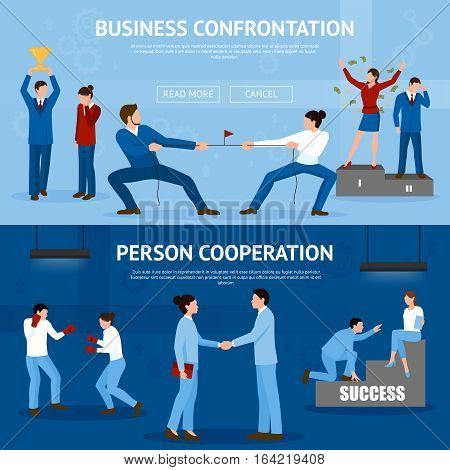 Constructive business confrontation and productive cooperation for success 2 flat horizontal banners website design isolated vector illustration