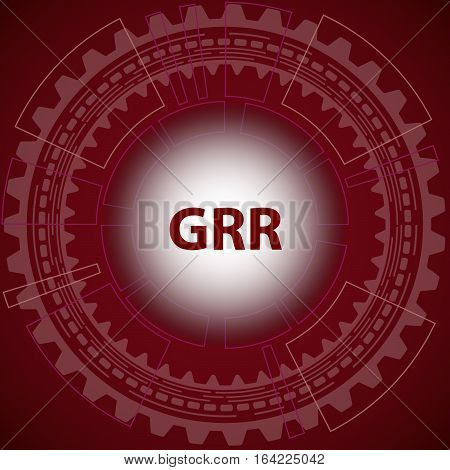 Gauge repeatability and reproducibility study background. Red background with gear and title GRR in middle.