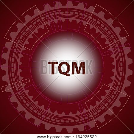 Total quality management strategy background. Red background with gear and title TQM in middle.