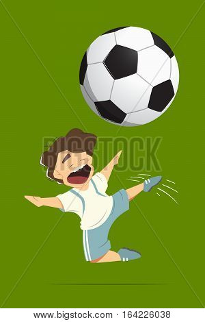 Happy soccer football player kid child boy kicking a ball while jumping in action. Color vector isolated illustration.