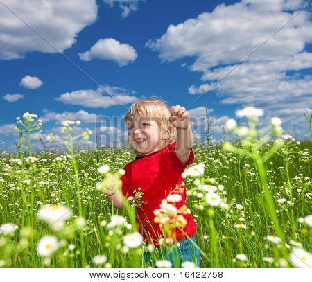 boy playful on meadow