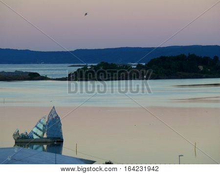 Breathtaking pastel color layer of sky before sunrise over the Oslo Fjord, Norway