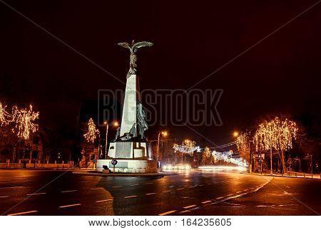The Aviators Statue From Bucharest, Romania, Christmas Lights Night Time