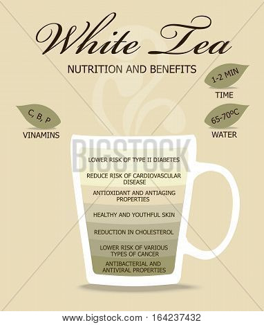 Nutrition and Benefits Tea. White tea, infographic concept.