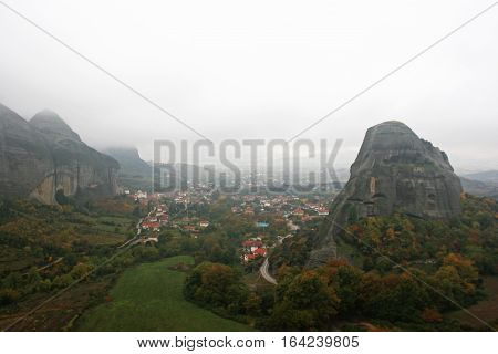 Landscape of the mountains and village houses of Meteora Greece