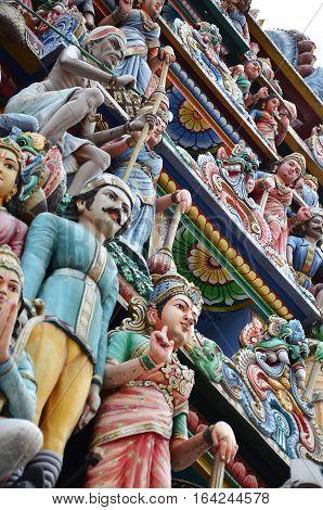 Facade Of Sri Veeramakaliamman Temple In Little India, Singapore.