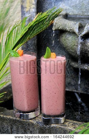 Two tall, chilled glasses with fresh berry smoothies set on edge of old, weathered water fountain.