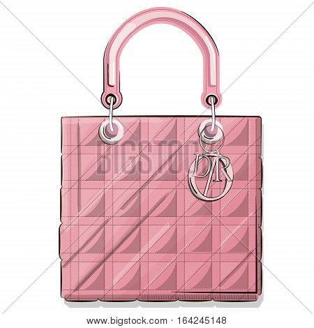 Vector hand drawn graphic fashion sketch bag. Rectangle luxury purse Trend glamour contemporary illustration in vogue style. Expensive pink tote print