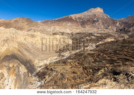 view of the mountains from the monastery in the village of Dzharkot, Lower Mustang, Nepal